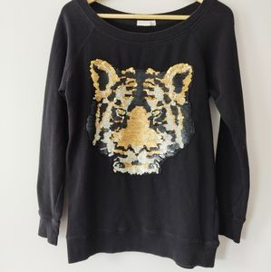 Garage Tiger Sequin Oversized Tunic Sweater